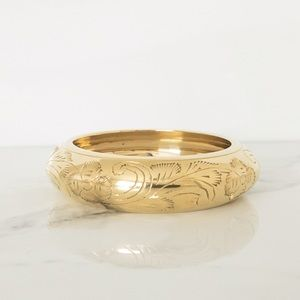 Brass Etched Floral Design Bangle Bracelet